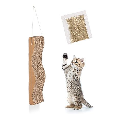 Relaxdays rascador para Gatos de cartón Ondulado con Hierba gatera para Colgar, marrón, 5