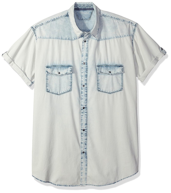 94304d8b7b Calvin Klein Jeans Men s Short Sleeve Spray Can Indigo Denim Shirt at  Amazon Men s Clothing store