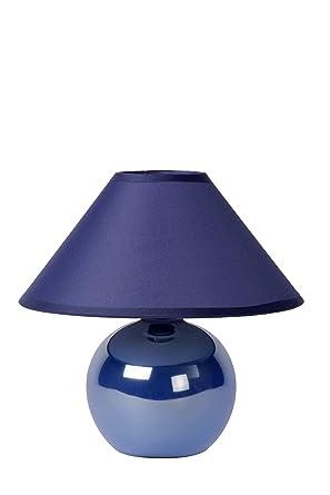 Lucide 14553/81/35 Faro - Lámpara de mesa con pantalla (cerámica y algodón), color azul