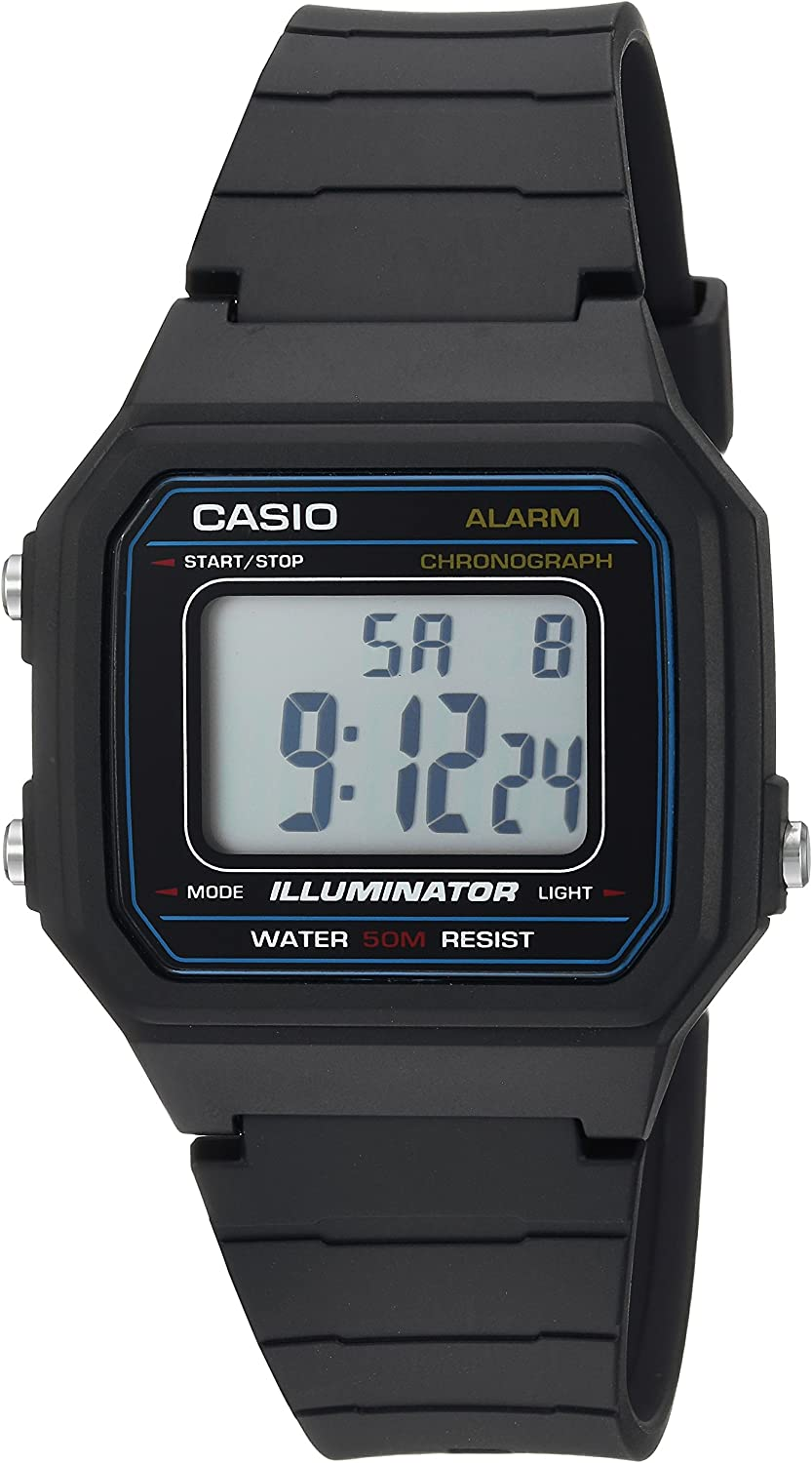 Casio Men s Classic Quartz Resin Casual Watch, Color Black Model W-217H-1AVCF