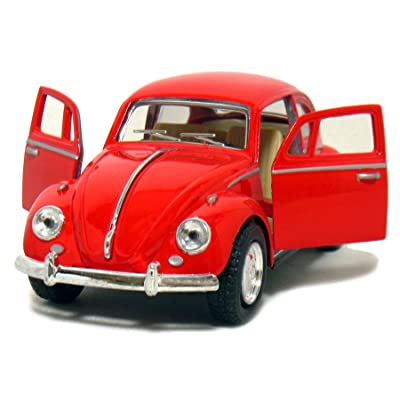 Kinsmart Red 1967 Classic Die Cast Volkwagen Beetle Toy with Pull Back Action: Toys & Games