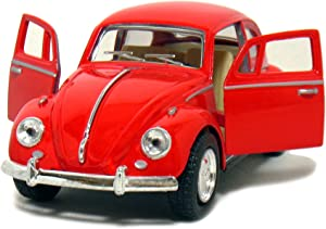 Kinsmart Red 1967 Classic Die Cast Volkwagen Beetle Toy with Pull Back Action