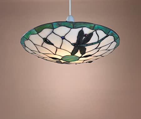 Tiffany Style Stained Glass Metal Dragonfly Uplighter Ceiling Light Shade 36cm