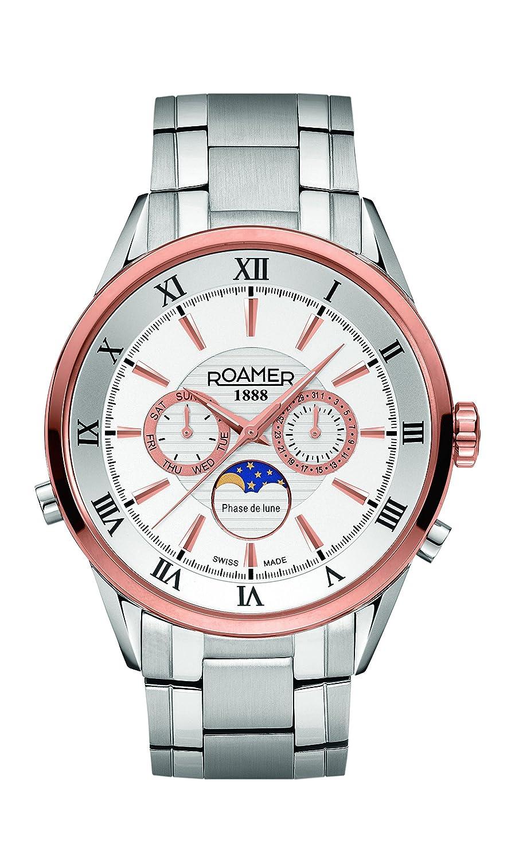 Roamer der Schweiz Superior Moonphase Men'Quarz-Uhr mit weißem Zifferblatt Chronograph Anzeige und Silber-Edelstahl-