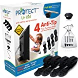 [Full kit] Anti Tip Furniture Anchor & TV Straps w/ Ultra-Strong Mounting Hardware & Safety Stud Finder Locks-In Heavy Objects for Instant Earthquake, Child & Baby Proofing (Black, 4 Straps)