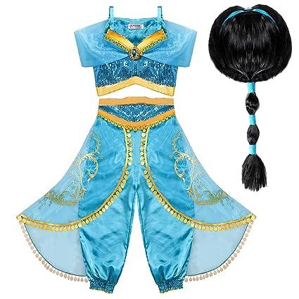 Tacobear Disfraz Jasmine Niña con Peluca Princesa Jasmine Vestido Traje Princesa Jasmine para Halloween Cosplay Fiesta Carnaval (5-6 años)