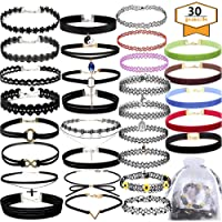 30 PCS Black Choker Necklaces Set Womens Velvet Choker Set Classic with Lace Tattoo Charm Girls Stretch Necklace (Pack of 30)