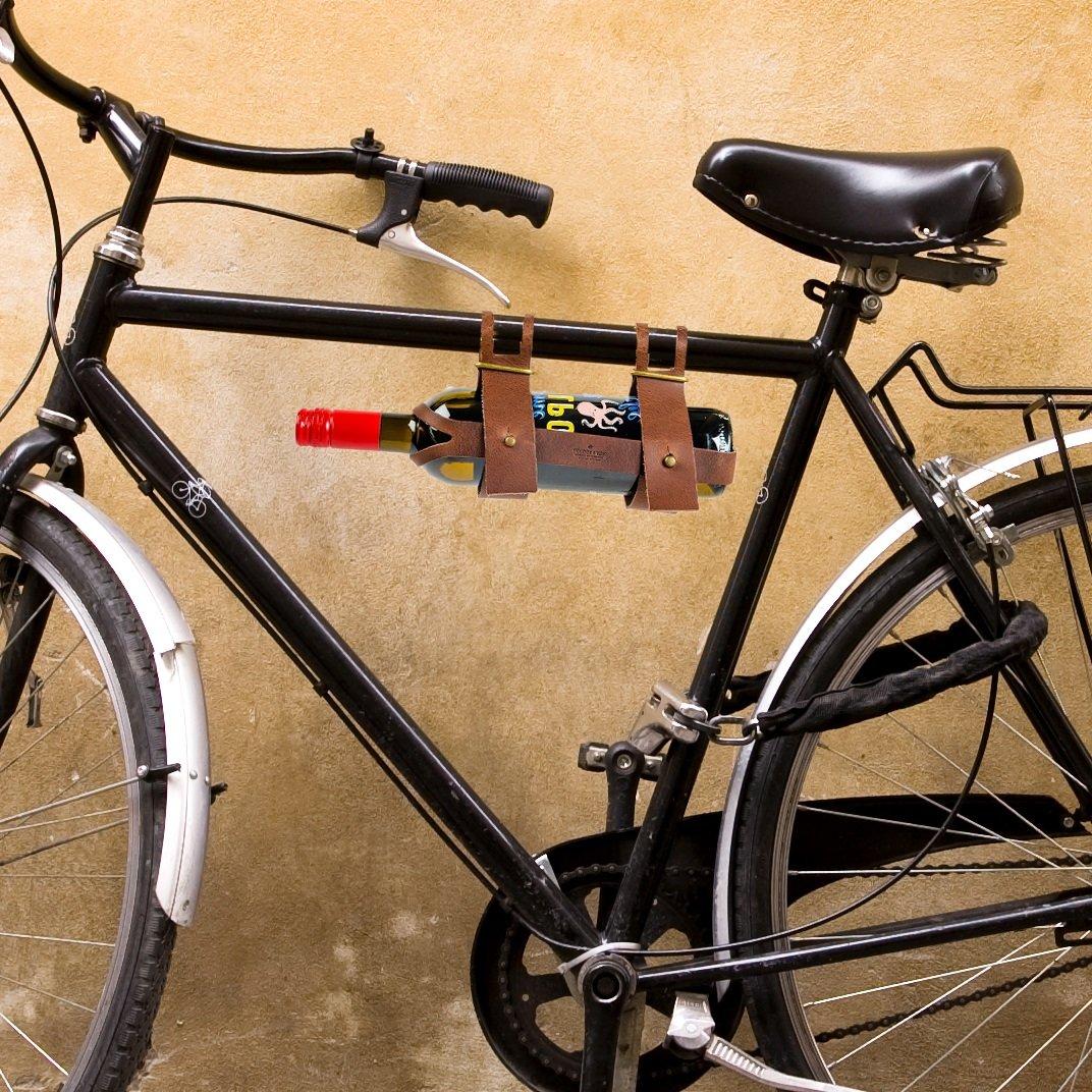 CKB ltd® portabottiglie da bicicletta in pelle, con porta-bottiglie di vino, ideale per portare A un Picnic o Day Trip