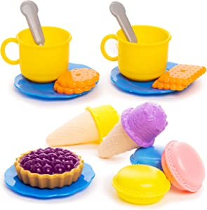 Toy Chef Colorful Dessert Playset with Realistic Cookies, Macarons, Pies, Cups, Ice Cream, Spoons, Large Tray for Boys and Girls Ages 3+