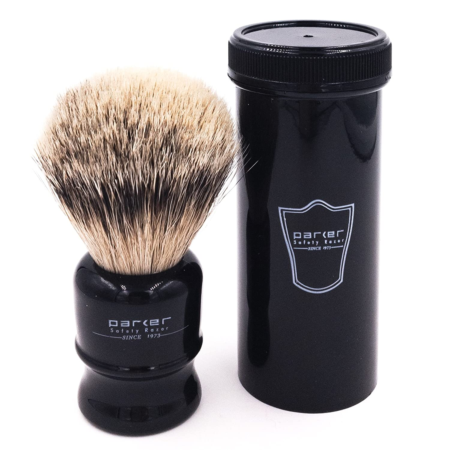 Parker Safety Razor 100% Silvertip Travel Shave Brush - Black Handle