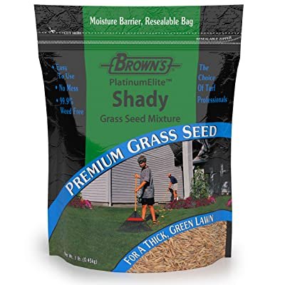 F.M. Brown's PlatinumElite Shady Grass Seed Mixture, 1 lb. | 99.9% Weed Free, Fast-Growing Perennial Seeds for Beautiful Lawns : Garden & Outdoor