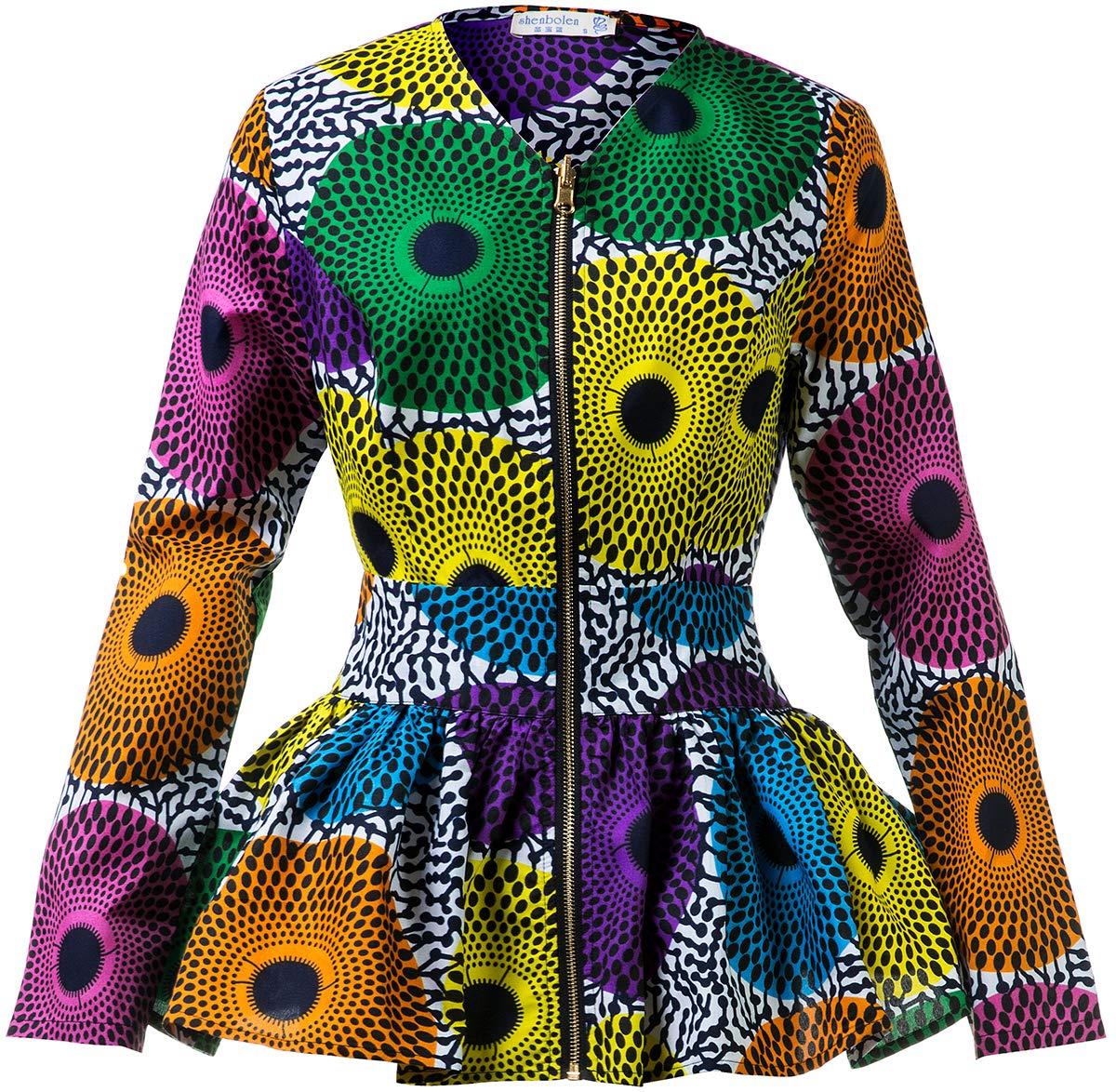 Shenbolen Women African Print Shirt Ankara Long Sleeves Top(A,XXX-Large)