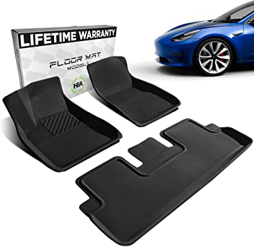 Black Interior Without Logo Fits 2017-2020 TeslaShields Tesla Model 3 Floor Mats Front /& Back Set of Floormats Premium All Weather /& All Season 3D Floor Liners