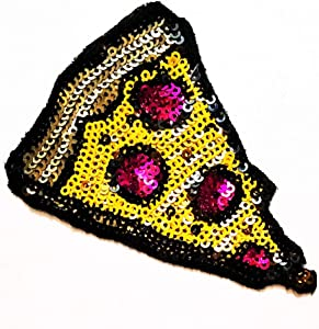 Nipitshop Patches Fashion Pizza Slice Italian Fast Food Sequin Shine Shiny Patch Embroidered Iron On Patch for Clothes Backpacks T-Shirt Jeans Skirt Vests Scarf Hat Bag