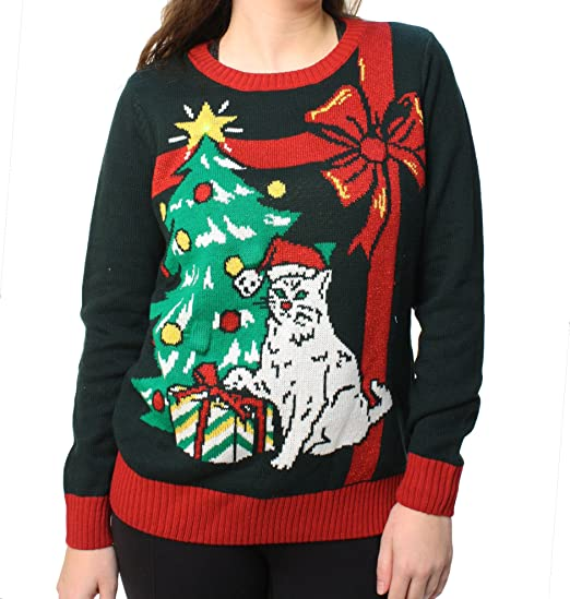 Ugly Christmas Sweater Femmes Grumpy Cat Led Light Up Sweat Shirt