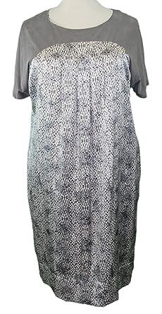 Marina Rinaldi MaxMara Indice Medium Gray Graphic Short Sleeve Dress 12W / 21