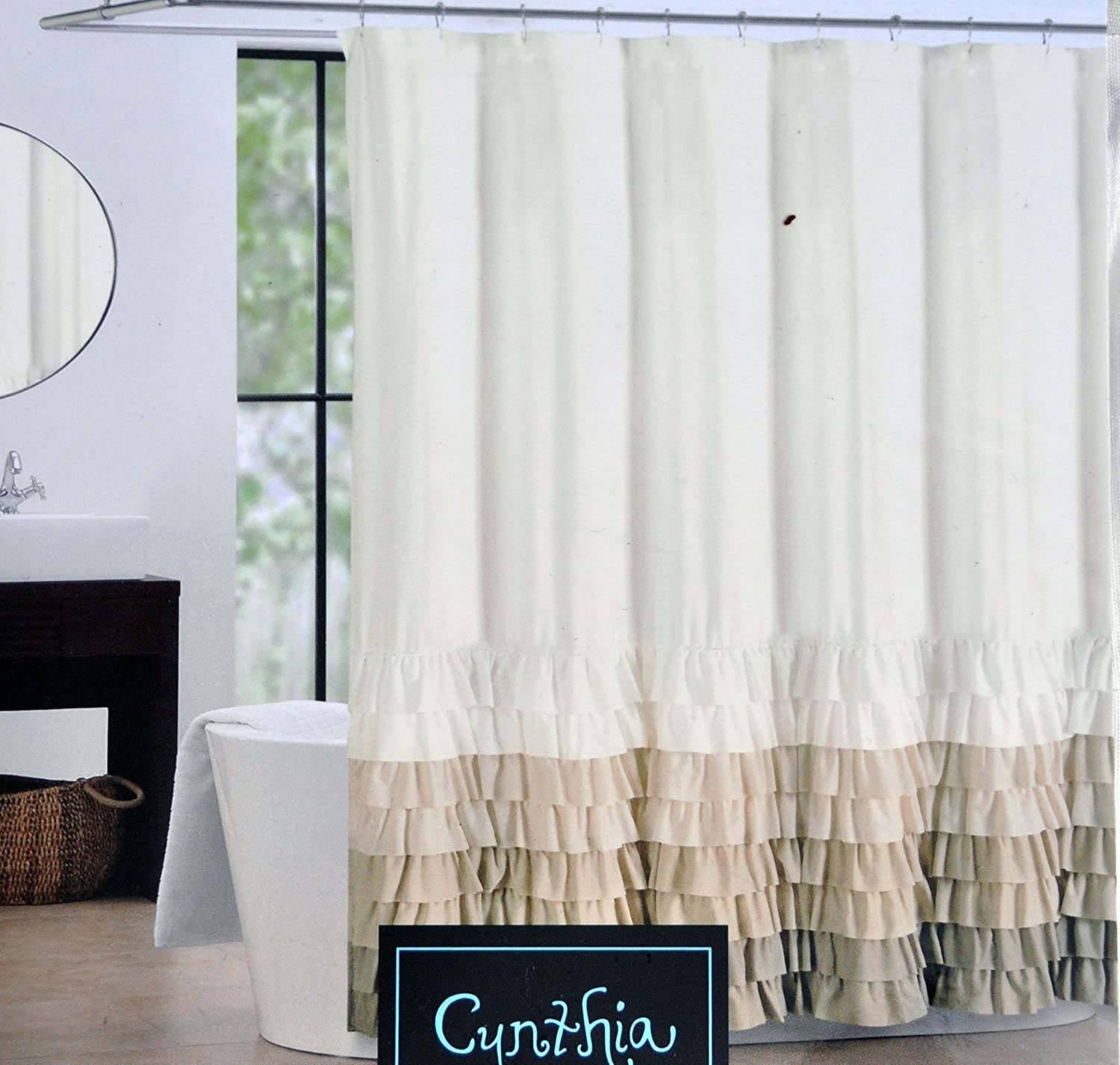 Tan Shower Curtains. Amazon.com: Cynthia Rowley Fabric Shower Curtain Tan,  Beige