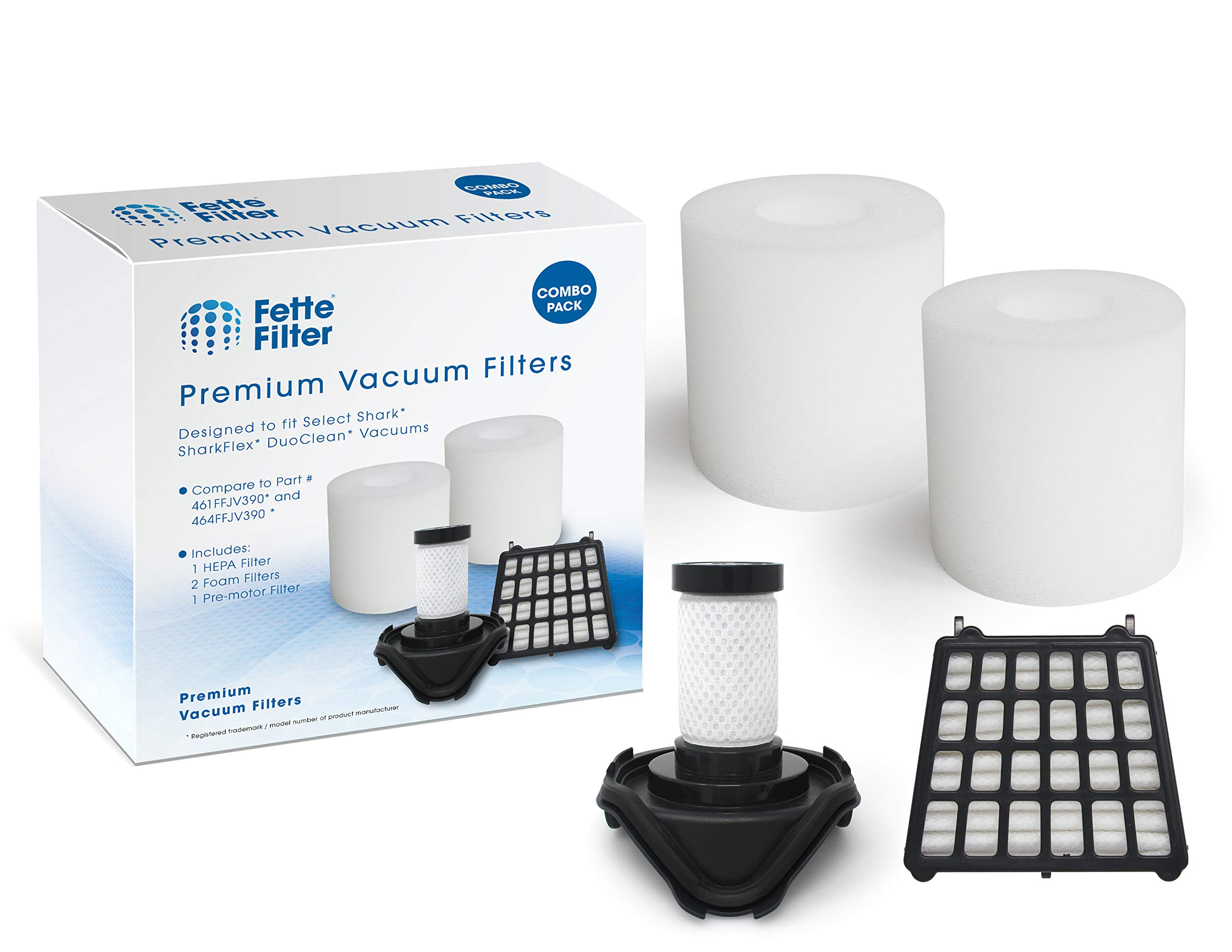 Fette Filter - Vacuum Filters Kit Compatible with SharkFLEX DuoClean Corded Ultra-Light Vacuum Filters. Fits HV390, HV391, HV392. Compare to Part # 461FFJV390 and 464FFJV390. (Combo Pack)