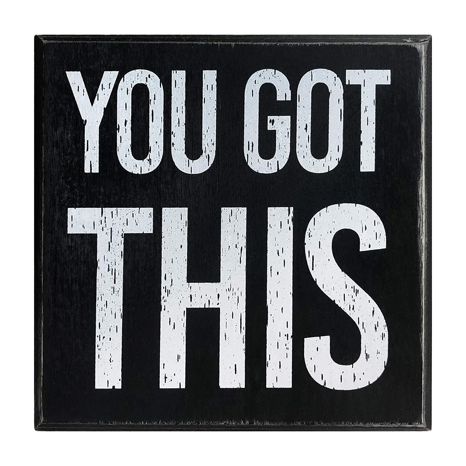 "You Got This 5""x5"" Motivational Wall Art Decor Box Sign with Quotes for Office Desk Home Kitchen Bedside Table or Shelf by Break The Chain"