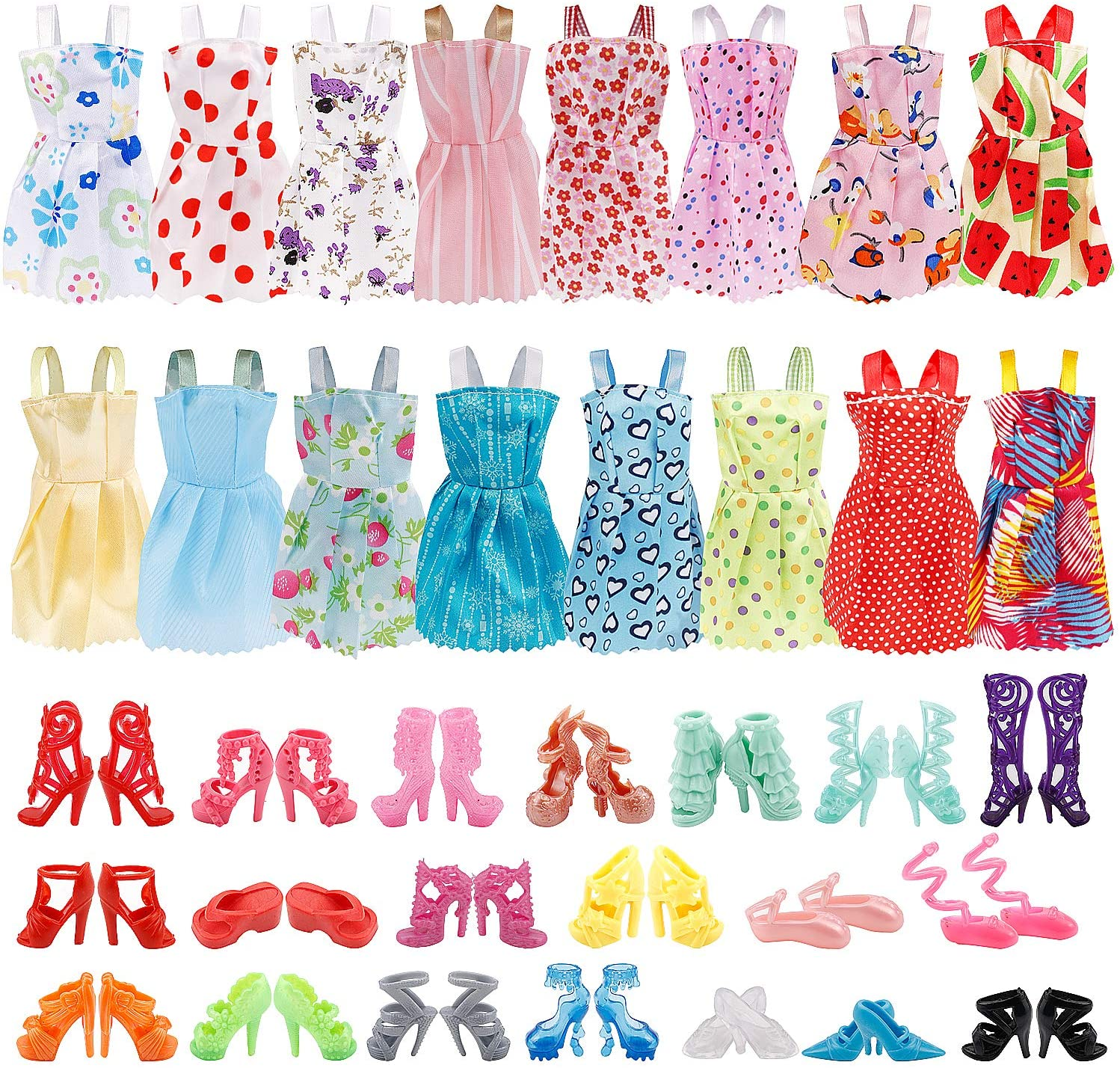 UPINS 16 Pack Doll Clothes Accessory Party Grown Clothes Outfit and 20 Pairs Doll Shoes Compatible with Doll