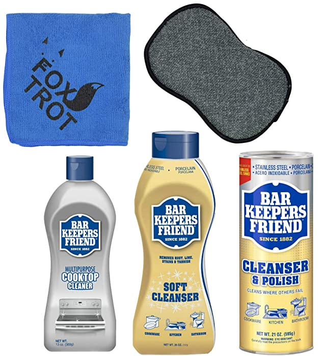 Bar Keepers Friend Cleanser Trio - Mega Bundle (21 Oz Cleanser & Polish Powder | 26 Oz Liquid Soft Cleanser | 13 Oz Cooktop Cleaner) Plus 1 Foxtrot™ Microfiber Towel & 1 Microfiber Scrubber Sponge