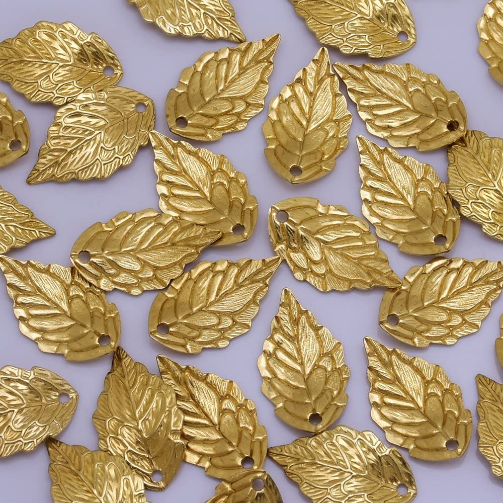 50pcs gold color 24x20mm metal tree branch leaf pendant charm handmade craft jewelry making DIY finding earring necklace drop AM233
