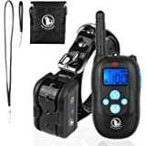 PetExpert Dog Shock Collar with Leather Lanyard Remote 330yd Waterproof Rechargeable Dog Training Collar Electric Collar with Beep Vibration Shock&LED Light Dog Bark Collar for All Dogs(10Lbs-100Lbs)