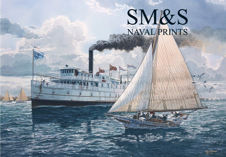 」「A Little Too Close」「byトムFreeman – Steamboat「Virginia」 – Marineアート B01BH1RIR8