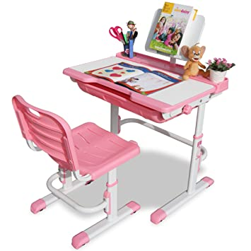 Alex Daisy Pluto Kids Height Adjustable Study Table U0026 Chair Set   Pink