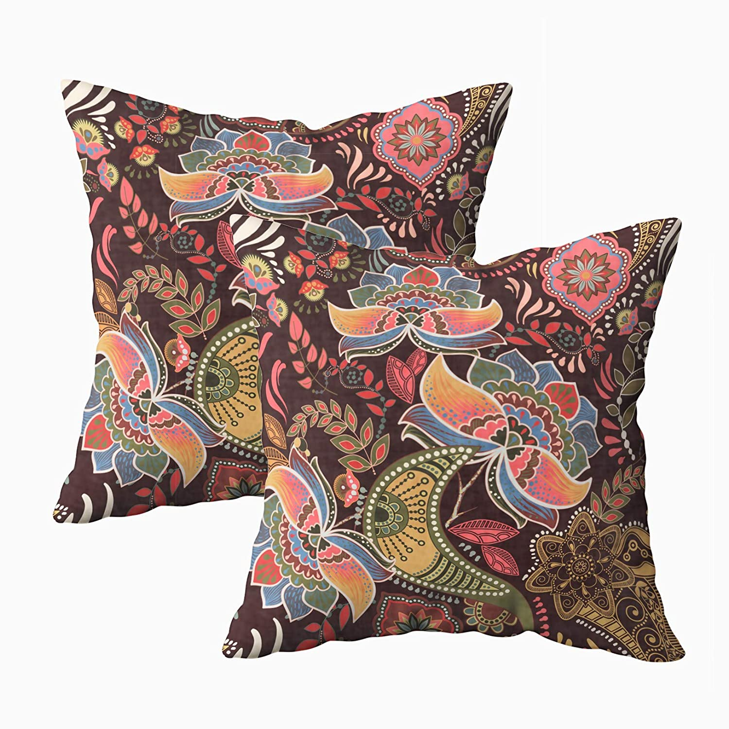 Musesh Pack of 2 leopard paisley pattern print Cushions Case Throw Pillow Cover Sofa Home Decorative Pillowslip Gift Ideas Household Pillowcase Zippered Pillow Covers 18X18Inch