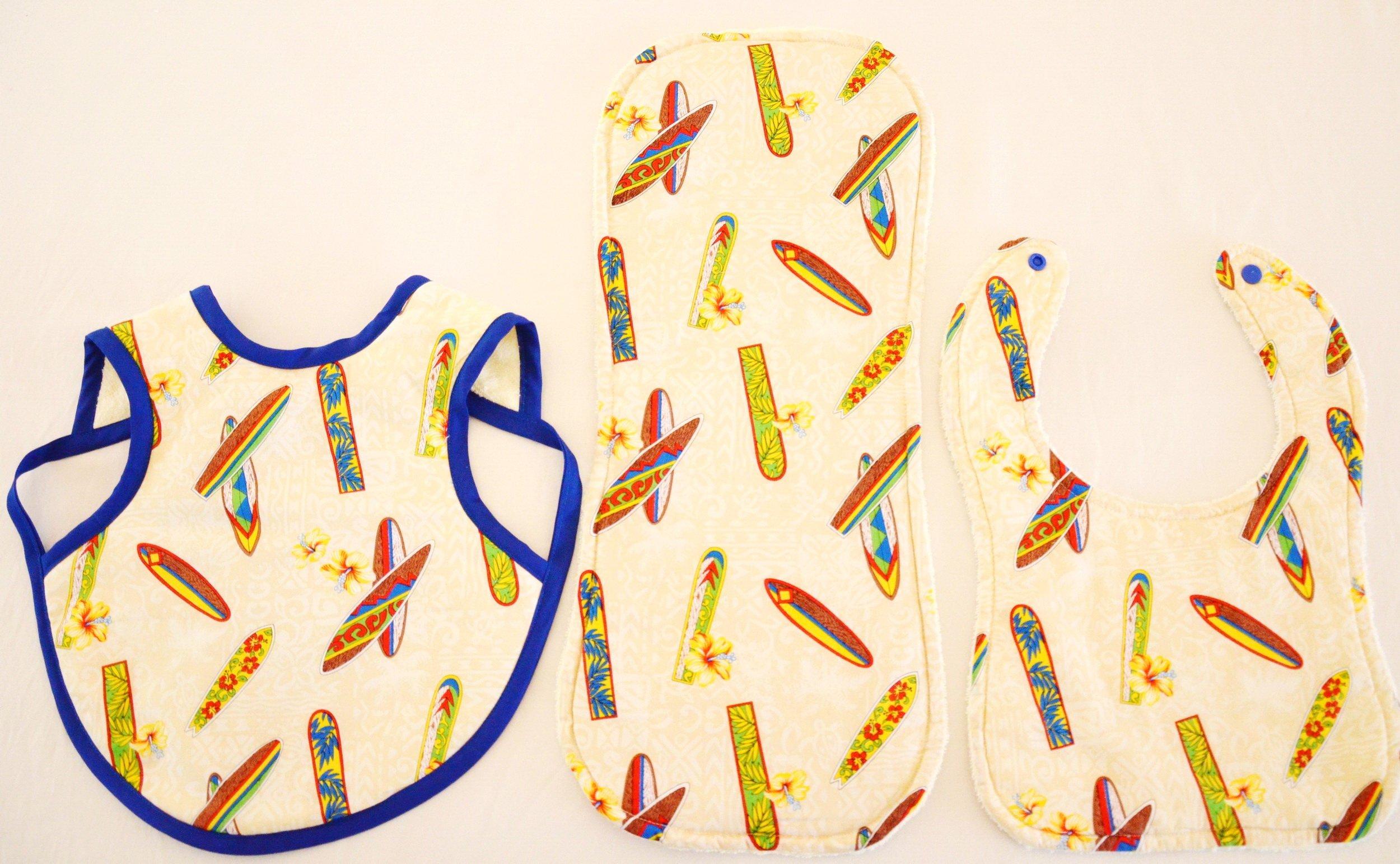 Hawaiian Bib Set (Bib, Bapron and Burp Cloth) - Surf Boards (S+L)