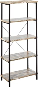 Skelton 4-Shelf Bookcase with Metal Frame Salvaged Cabin and Black
