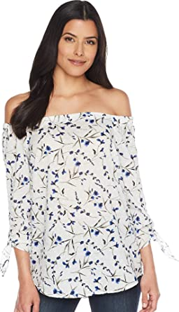 bafb0f6ec7e CeCe Women's Off The Shoulder Graceful Floral Blouse Ultra White X-Small