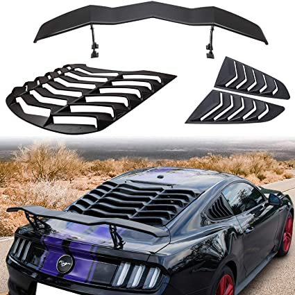 ABS Rear and Side Window Louver Sun Shade Cover fit 2015-2018 Ford Mustang