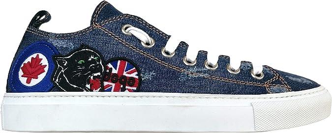 Dsquared S17SN116 1246 3085 - Zapatillas de Hombre de Tela Vaquera Lavada + Parche Azul Size: 42.5 EU: Amazon.es: Zapatos y complementos