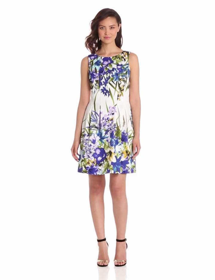 London Times Womens Printed Sateen Dress