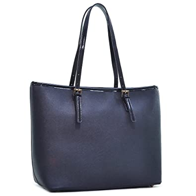 91a2b9e24000 Dasein Women s Classic Designer Carry All Saffiano Faux Leather Tote Bag  Shoulder Bag Work Bag (