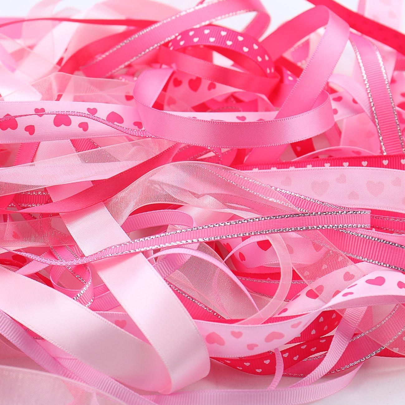 10 St/ück je 2m variieren Stil 6mm 16mm Satinband Schleifenband Dekoband Geschenkband Organzaband B/änder f/ür Hochzeit Taufe Pink Luxbon 20m
