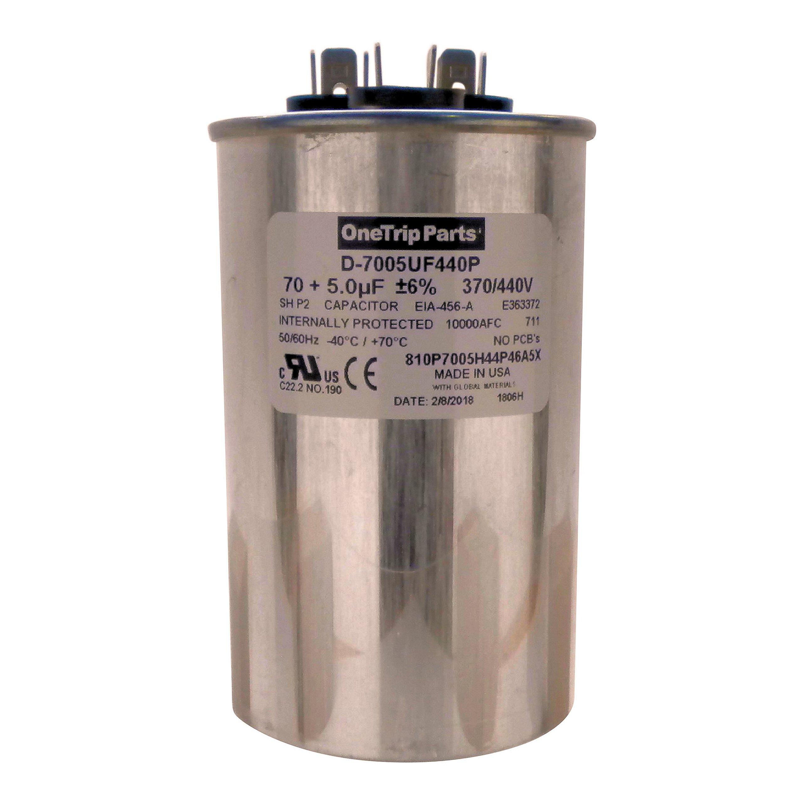 OneTrip Parts USA Run Capacitor 70+5 UF 70/5 MFD 370 VAC / 440 VAC 2-1/2 Inch Round Heavy Duty