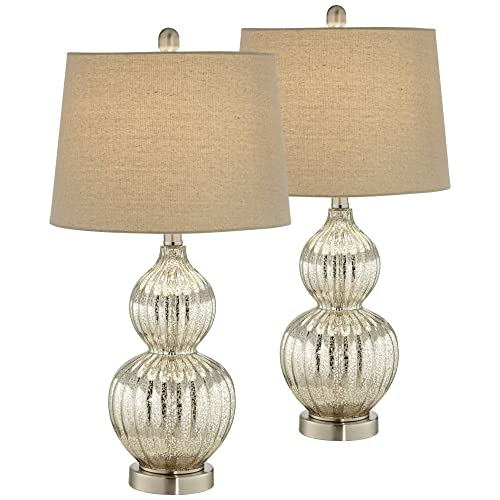 Lili Modern Table Lamps Set of 2 Fluted Mercury Glass Double Gourd Drum Shade for Living Room Family Bedroom Bedside – Regency Hill