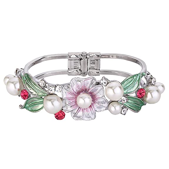 1940s Hats History EVER FAITH Womens Crystal Simulated Pearl Enamel Flower Bracelet Clear w/ Pink $16.99 AT vintagedancer.com