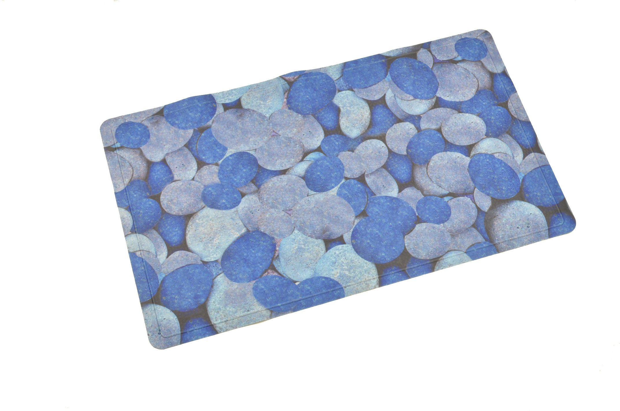 ABELE (R) Design Non Slip Baby Kids Safety Shower Tub Bath Mat, Mildew Mold Resistant Bathmat, Rubber w/ Cloth Coating (Blue Pebble) 15.7'' X 27.5''