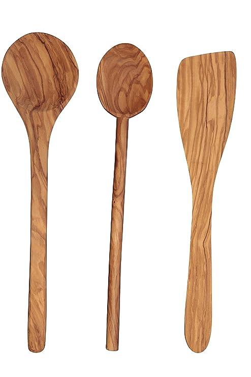 Olive Wood Kitchen Utensils #13 - Scanwood Olive Wood Utensil (Spatula Spoon Ladle 3 Piece Set 12 Inch)