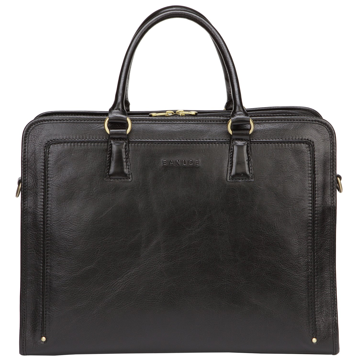 Banuce Full Grains Leather Briefcase Women Messenger Satchel Bag 14 Laptop Black LDOFYBW005-BK