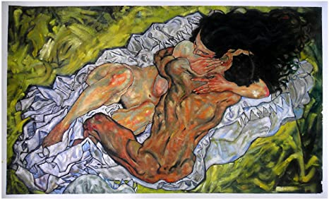 Original Oil Painting of a Married Couple Loving Embrace