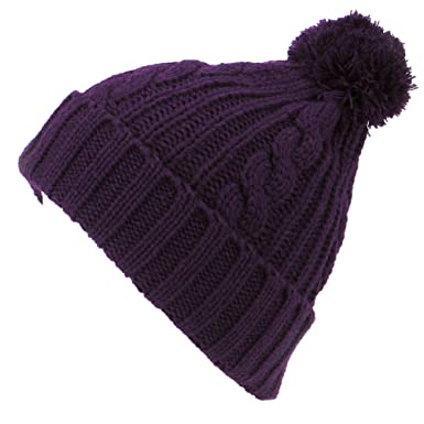 08e804f6222 Image Unavailable. Image not available for. Colour  Hawkins PURPLE CABLE KNIT  BOBBLE HAT WARM WINTER BEANIE ...