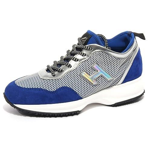 B1688 sneaker donna HOGAN INTERACTIVE LYCRA blu/argento scarpa shoe woman