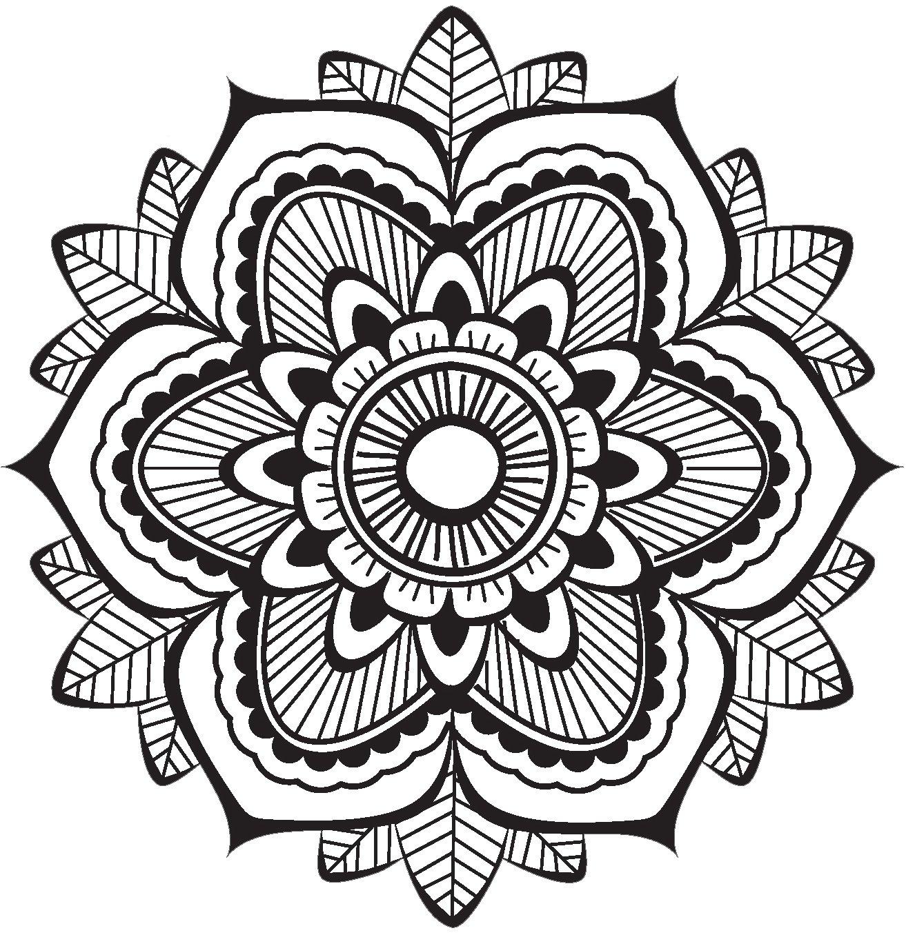 Amazon.com Cute Grayscale Henna Mandala Flower Icon Vinyl