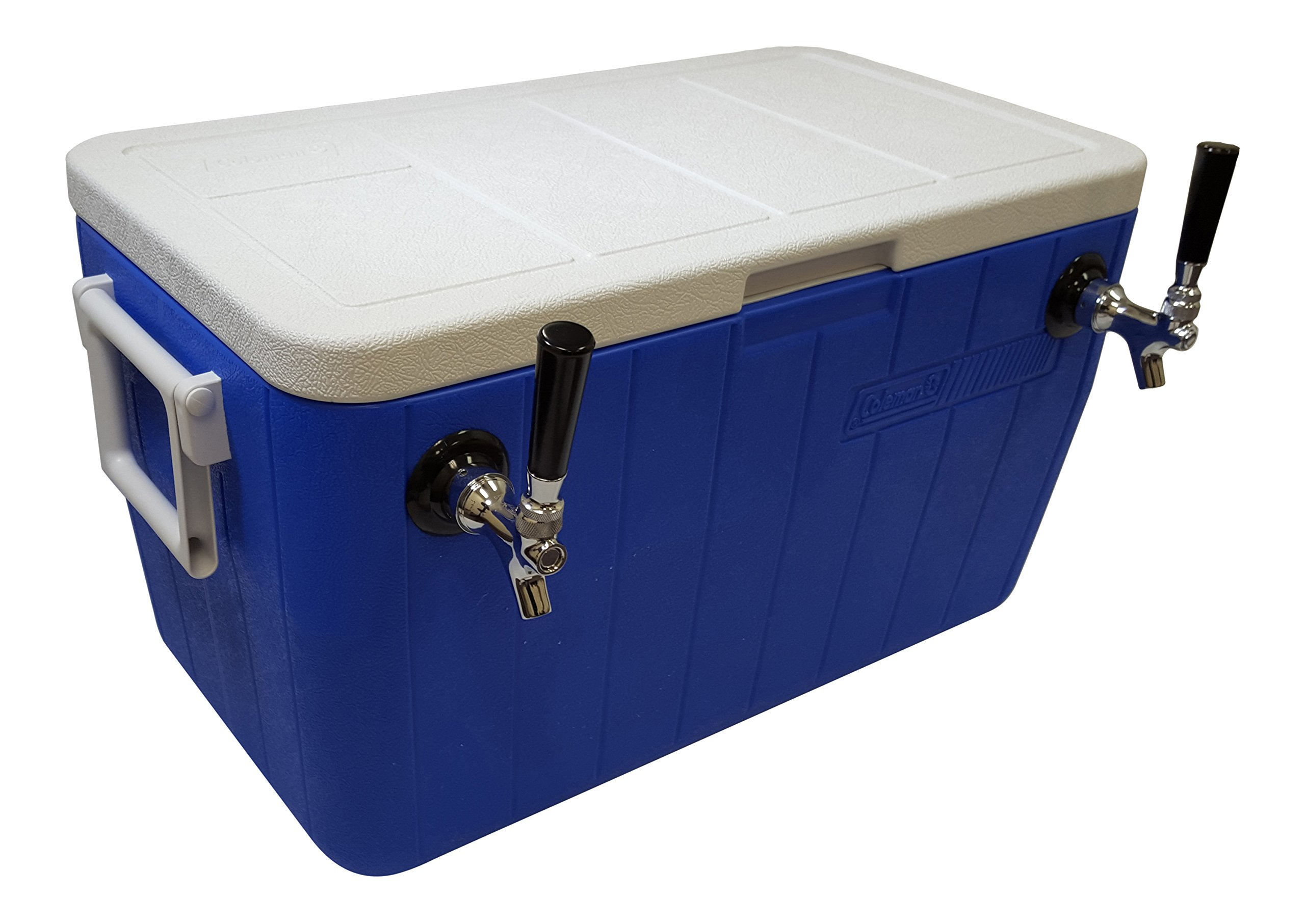 NY Brew Supply 50' Stainless Steel Coils Jockey Box Cooler with Double Faucet, 48 quart, Blue
