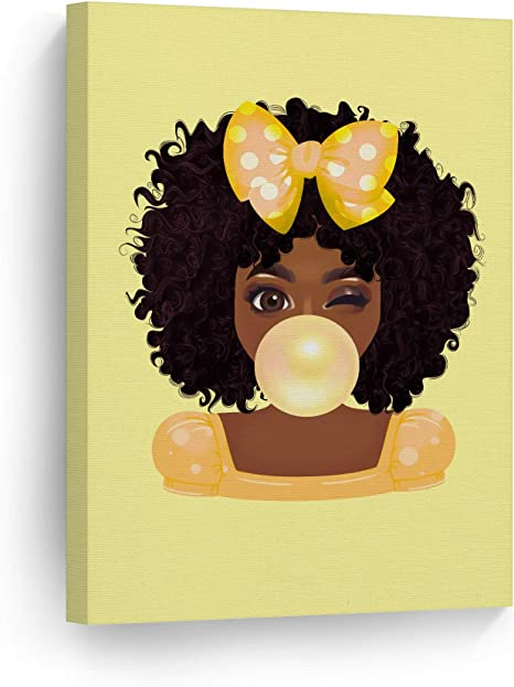 Amazon Com Smileartdesign Yellow Bubble Gum Cute African Girl Curly Hair Canvas Wall Art Print Nursery Kids Room Wall Art African American Art Home Decor Ready To Hang Made In Usa 12x8 Posters